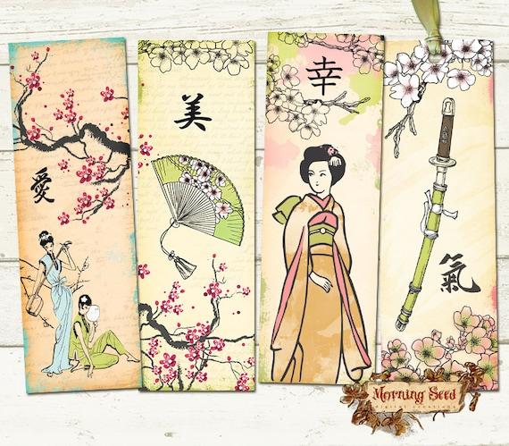 printable bookmark set of 4 printable oriental geisha. Black Bedroom Furniture Sets. Home Design Ideas