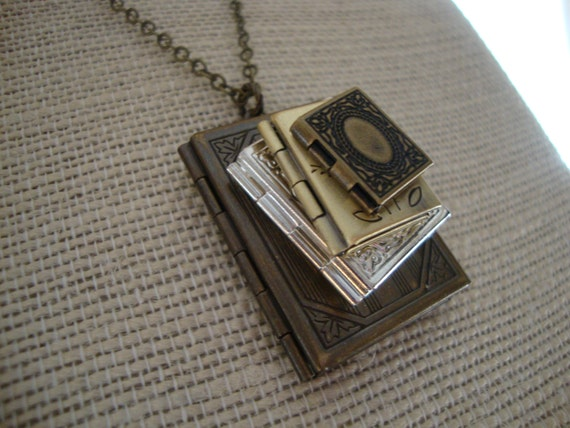 Stack of Books Locket Necklace Stacked Book Locket Necklace