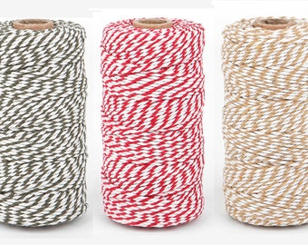Bakers Twine 2mm 100 yards Full spool, Cotton string 10 colors.