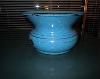 vintage Blue enamel ware spittoon