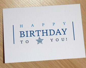 Male Happy Birthday Card - blue text with star - teenager - teenage boy - boyfriend - modern Birthday card