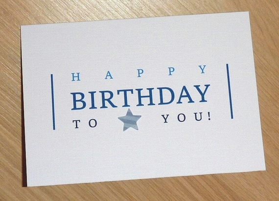 Items similar to Male Happy Birthday Card - blue text with ...