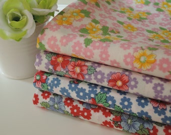 """Bundle Of 1/8 Lecien Old New 30's Floral Fabric in 4 Colorways. Approx. 9"""" x 21"""" Made in Japan"""