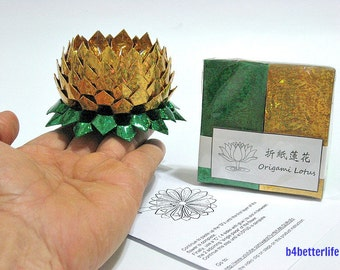 Pack Of 200 sheets Gold Color DIY Origami Lotus Paper Folding Kit for Making 2pcs Medium Size Lotus. (4D Glittering Paper Series). #LPK-12.