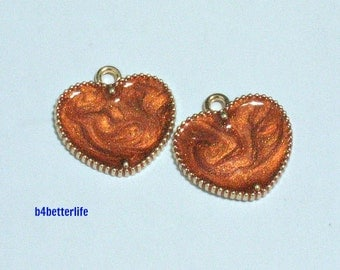 "Lot of 24pcs ""Heart Love"" Gold Color Plated Enameled Metal Charms. #HY1071."