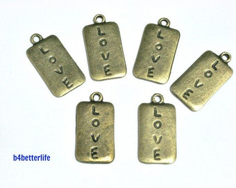"Lot of 24pcs Double Sided Antique Bronze Tone ""Love Badge"" Metal Charms. #BC2733."