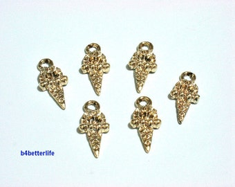"""Lot of 24pcs """"ice cream"""" Gold Color Plated Metal Charms. #XX207."""