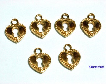 "Lot of 24pcs Double Sided ""Keyhole Heart"" Gold Color Plated Metal Charms. #XX477."