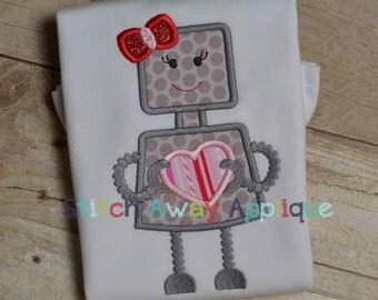 Valentine Girl Robot Machine Applique Design