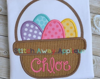 Easter Eggs Basket Machine Applique Design