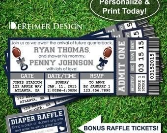 Sports Ticket Baby Boy Shower Invitation, All-Star Baby Shower, Football, Blue and Gray, DIY Word Template +BONUS Diaper Raffle Tickets