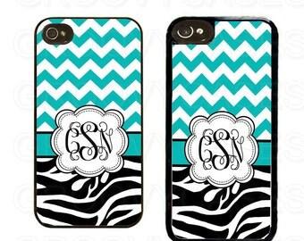 Monogrammed iPhone 4 4s 5 5s 5c SE Case Rubber Blue Chevron Zebra