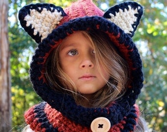 Fox Cowl, Hooded Cowl,  Fox Hat, Fox Hooded Cowl, Hooded Scarf, Crochet Hoodie, Animal Hat, Crochet Cowl, Animal Scarf, Crochet Hood