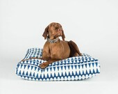 Blue and Mint Triangle - Hand Block Dog Bed by FILLYDOG
