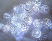 String LED Lights, Fairy Lights, Party Lighting, Bedroom Decor lamps,Wedding lighting, 30 Lace Crocheted balls, garland light