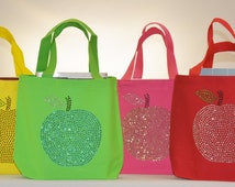 """Glitzy Apple Teacher Appreciation Tote Bag Gift Bag 