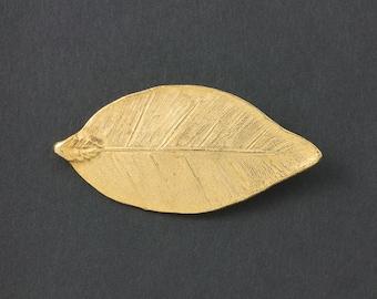 Vintage Bergere Brooch Gold tone Leaf