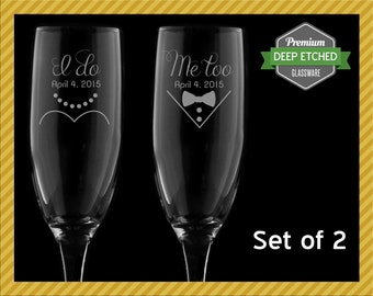 Wedding Gifts, I Do, Me Too Toasting Flutes for Bride and Groom, Set of 2 Champagne Flutes