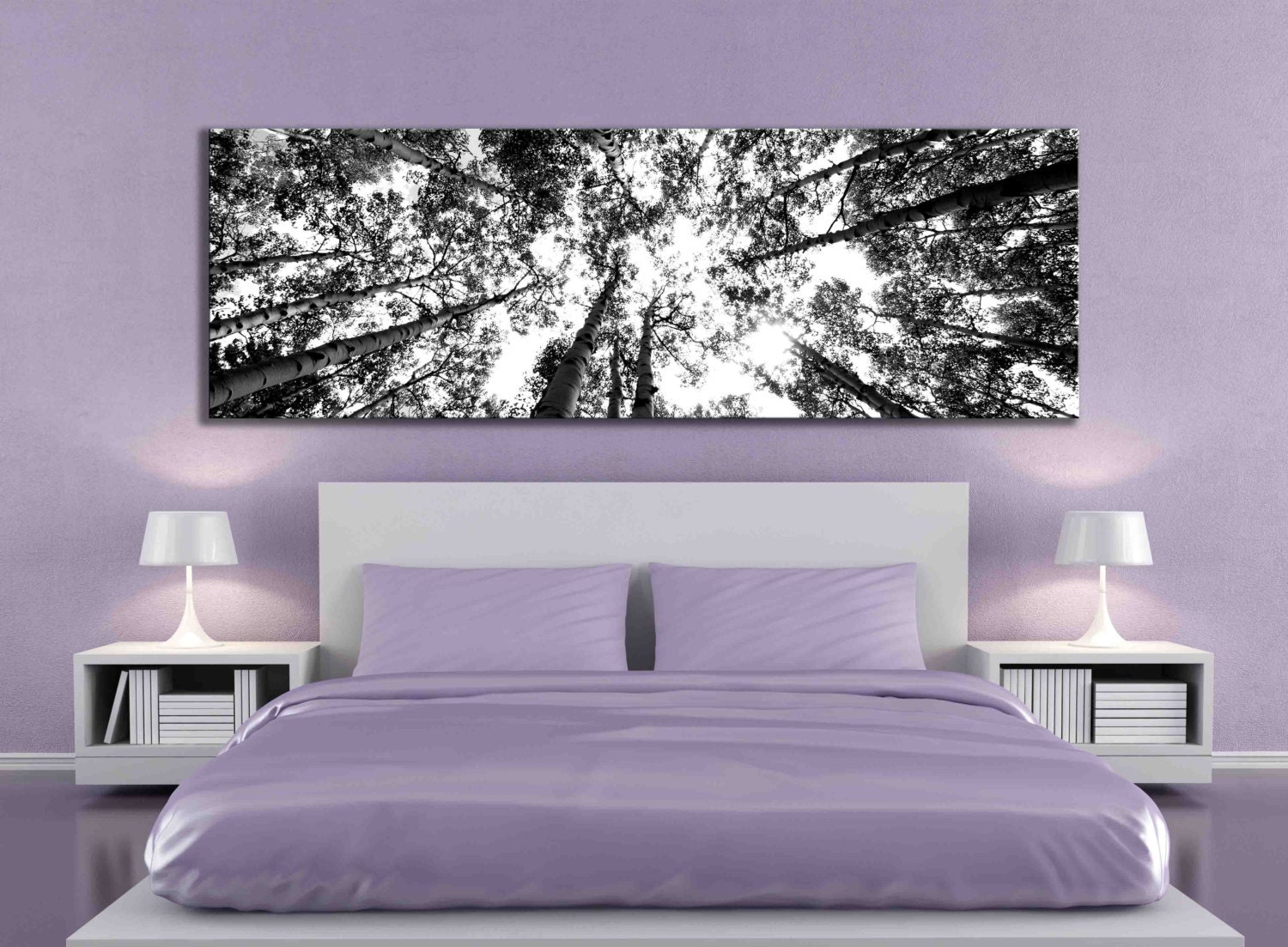 Large panoramic 20 x 60 or 12 x 36 inch black and white canvas for Tree bedroom decor