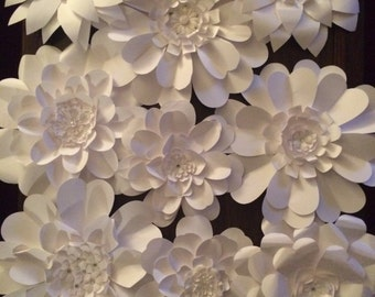 Paper Flower Wall Artistic Arrangement - 9 piece
