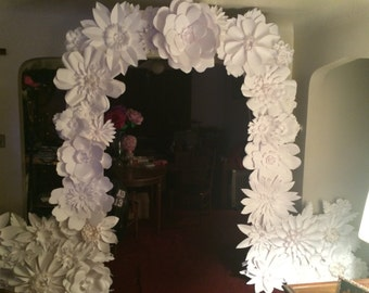 Paper Flower Wedding Arch and or Backdrop - 8ft  -  FREE SHIPPING