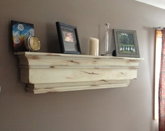 Distressed Mantle Wall Shelf