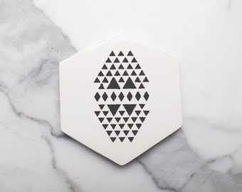 Coaster black hexagonal with triangles