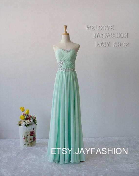 2015 Sweetheart Long Chiffon Prom Dresses Bridesmaid Dresses A-line party Dresses Mint Green cheap evening dresses homecoming dress