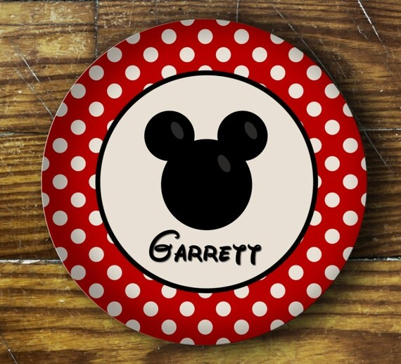 Personalized Dinner Plate or Bowl-Mickey or Minnie Inspired