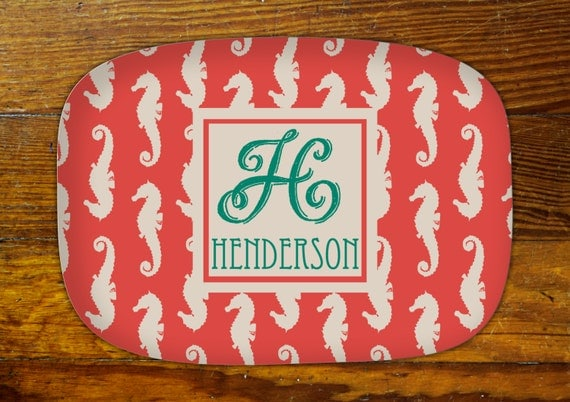 Personalized Serving Platter-Seahorse