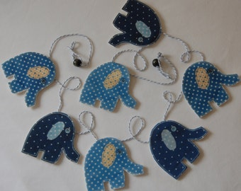 Set of Baby Blue Elephant Bunting - newborn or christening gift