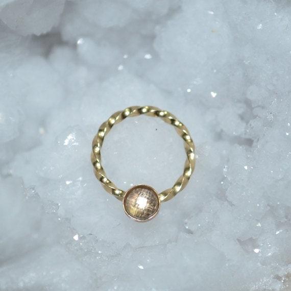 3mm White Topaz Nipple Ring - Gold Septum Ring - Nipple Piercing - Septum Piercing - Cartilage Piercing - Conch Piercing 16g - Body Piercing