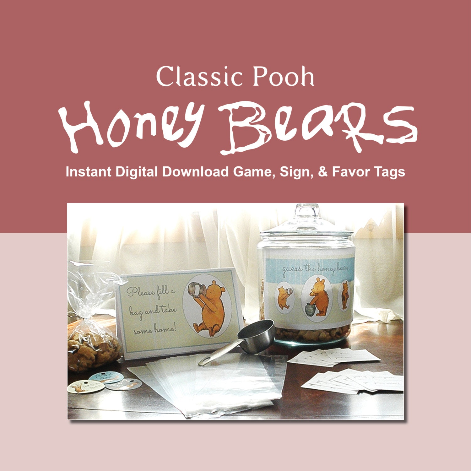 classic winnie the pooh boy baby shower instant digital