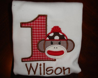 Appliqued Sock Monkey First Birthday Shirt, Personalized Shirt