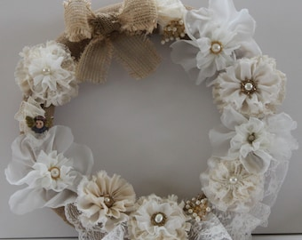 Shabby Wreath Cottage Wreath Shabby Chic Wall Decor Burlap and Lace Ready to Ship