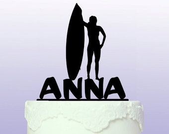 Personalised Surfing Babe Cake Topper