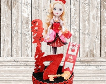 Cake Toppers - Birthday Centerpiece - Ever After High Centerpiece - Apple White - Royal