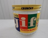 Jif Peanut Butter Glass Advertising Jar - Kitchen Collectible - Peanut Butter Lover - Vintage Glass Mason Screw Top Jar with Lithograph Lid