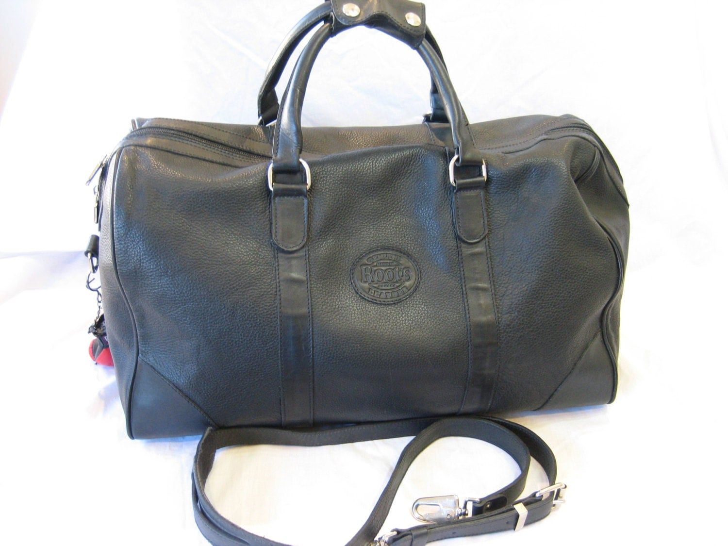 vintage roots black leather xlarge duffel bag made in canada