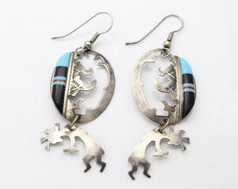 Vintage Sterling Silver Southwest Tribal Kokopelli Cutout Dangle Earrings. [475]