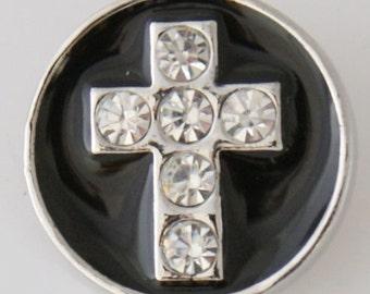 KB7758 Beautiful Clear Crystal Cross Set on Black Enamel