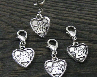 1 pc. Dangle Silver Heart w/Cupid for Bracelets, Floating Charm Pendants, Necklaces & Keychains  D031