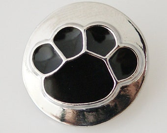 KB5614  Raised Black Paw Print on Shiny Silver Charm