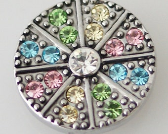 KB5224  Multi-Colored Crystal Disc w Silver Setting & Large Clear Crystal in Center