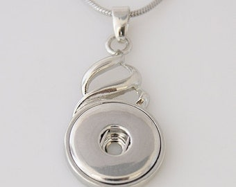 KB3319  Elegant Silver Pendant with a Fashion Twist on Top for Snap-It Charms