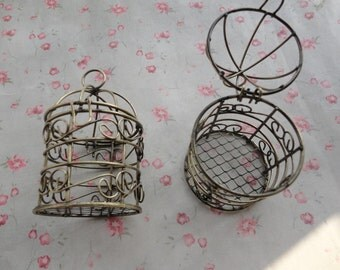 2 colors choice , set of 2 metal bird cage charm , metal bird cage pendant , 75x45x45mm--MPC3401-2