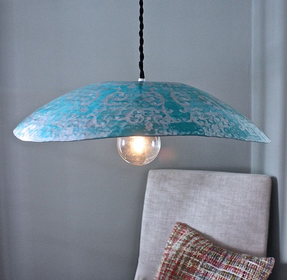 Modern Hammered Metal Hanging Pendant Light Silver Turquoise