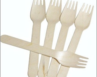 Wooden Forks, Rustic Wedding Silverware, Wooden Cutlery, Wood Utensils, Disposable Forks