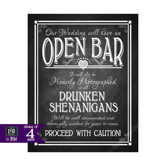 Open Bar Printable Wedding Sign Diy Digital By Psprintables