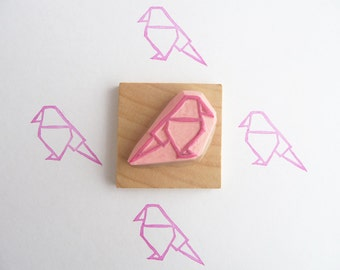 Origami bird hand carved rubber stamp